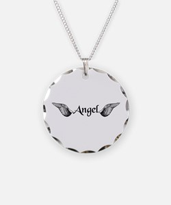 Angel Wings Necklace Circle Charm