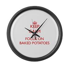 Funny I love potatoes Large Wall Clock
