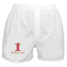 First Birthday Girl Pink Green Boxer Shorts