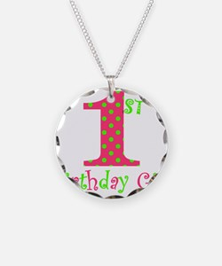 First Birthday Girl Pink Green Necklace