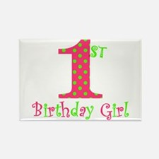 First Birthday Girl Pink Green Magnets