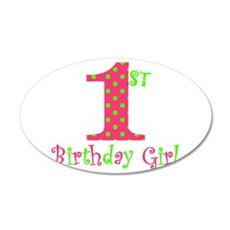 First Birthday Girl Pink Green Wall Decal