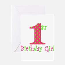 First Birthday Girl Pink Green Greeting Cards