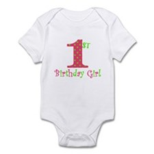 First Birthday Girl Pink Green Body Suit