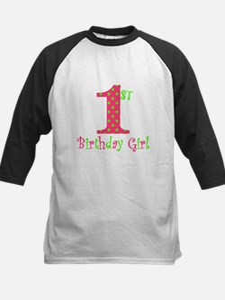First Birthday Girl Pink Green Baseball Jersey