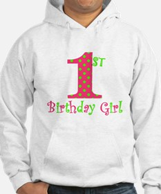 First Birthday Girl Pink Green Hoodie