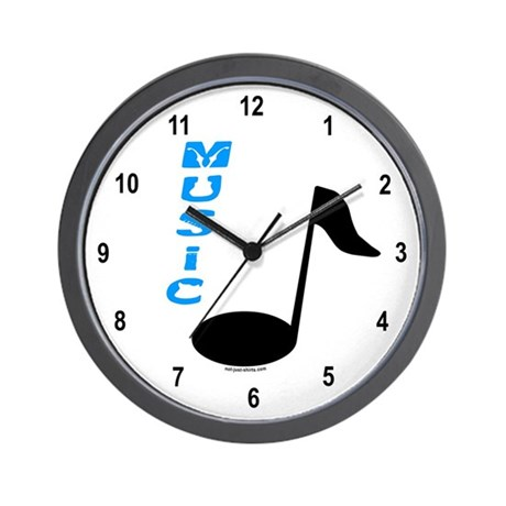 Music Note Text Wall Clock