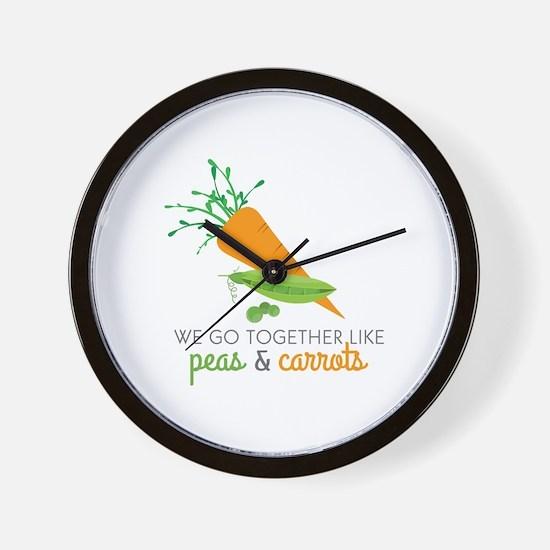 We Go Together Like Peas & Carrots Wall Clock