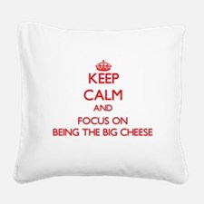 Funny I love cheese Square Canvas Pillow