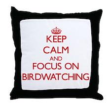 Cute Bird watching magazine Throw Pillow