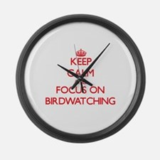 Cute Bird watching magazine Large Wall Clock