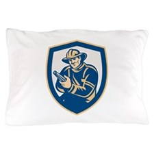 Fireman Firefighter Aiming Fire Hose Shield Retro