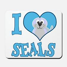 I Love (Heart) Seals Mousepad