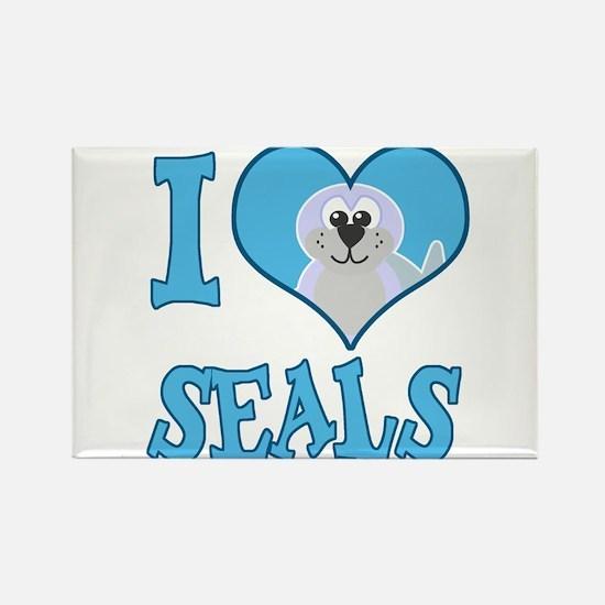I Love (Heart) Seals Rectangle Magnet