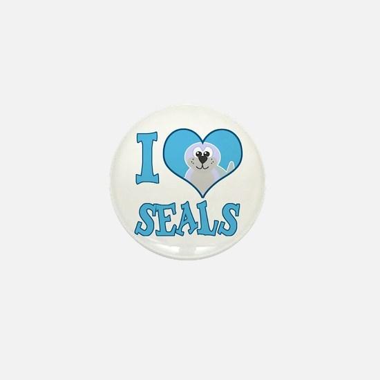 I Love (Heart) Seals Mini Button (10 pack)