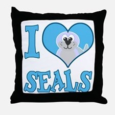 I Love (Heart) Seals Throw Pillow