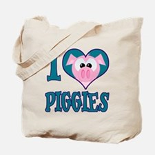 I Love (Heart) Piggies (Pigs) Tote Bag