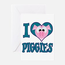 I Love (Heart) Piggies (Pigs) Greeting Cards (Pack