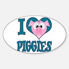 I Love (Heart) Piggies (Pigs) Oval Decal
