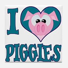 I Love (Heart) Piggies (Pigs) Tile Coaster