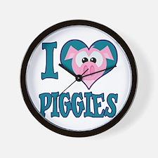 I Love (Heart) Piggies (Pigs) Wall Clock