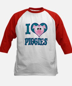 I Love (Heart) Piggies (Pigs) Kids Baseball Jersey