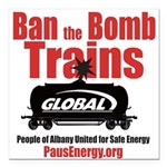 "Ban The Bomb Trains Square Car Magnet 3"" X 3&"