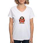Red Hawaiian Penguin Women's V-Neck T-Shirt