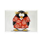 Red Hawaiian Penguin Rectangle Magnet