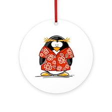 Red Hawaiian Penguin Ornament (Round)