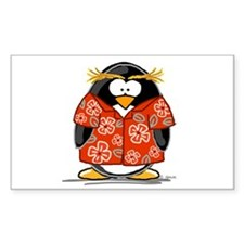 Red Hawaiian Penguin Rectangle Decal