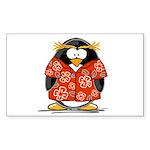 Red Hawaiian Penguin Rectangle Sticker