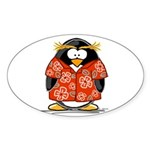Red Hawaiian Penguin Oval Sticker