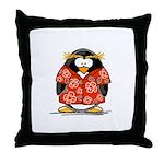 Red Hawaiian Penguin Throw Pillow
