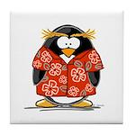 Red Hawaiian Penguin Tile Coaster