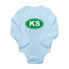 Kansas KS Euro Oval Long Sleeve Infant Bodysuit