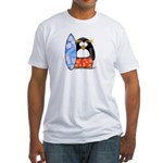 Surfing Macaroni Penguin Fitted T-Shirt