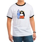 Surfing Macaroni Penguin Ringer T