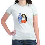 Surfing Macaroni Penguin Jr. Ringer T-Shirt