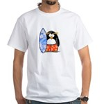 Surfing Macaroni Penguin White T-Shirt