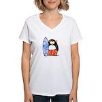 Surfing Macaroni Penguin Women's V-Neck T-Shirt