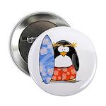 Surfing Macaroni Penguin Button