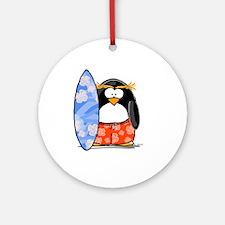 Surfing Macaroni Penguin Ornament (Round)