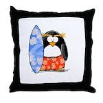 Surfing Macaroni Penguin Throw Pillow