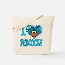 I Love (Heart) Peacocks Tote Bag