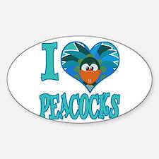 I Love (Heart) Peacocks Oval Decal