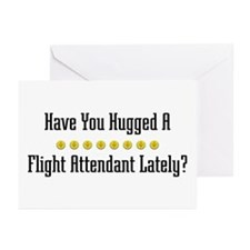 Hugged Flight Attendant Greeting Cards (Package of
