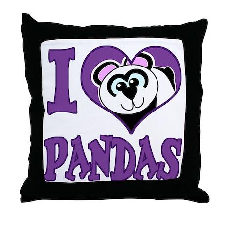 I Love (Heart) Pandas Throw Pillow