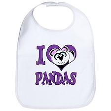 I Love (Heart) Pandas Bib