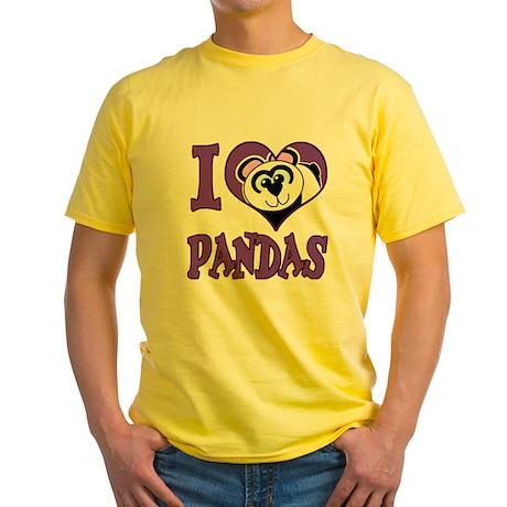 I Love (Heart) Pandas Yellow T-Shirt